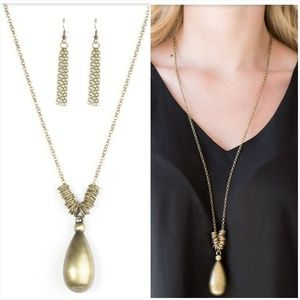 JUST DROP BRASS NECKLACE/EARRING SET